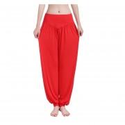 Algodón Modal De Las Mujeres De Yoga Suave Pantalones Harem Fitness (rojo)
