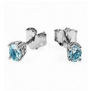 Astrological Stone Topaz Stud Earring Unheated & Natural Blue Topaz Earring BY Jaipur Gemstone
