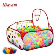 iBayam Toy Play Tent 59 inches Foldable Baby Ball Pit Kids Playpen Children Play Pool Hexagon Polka Dot with Basketball Hoop for Kids (Balls Sold Separately)