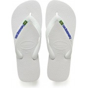 Havaianas Brasil Logo Unisex Slippers - White - Maat 37/38