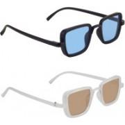Zyaden Rectangular, Rectangular Sunglasses(Blue, Brown)