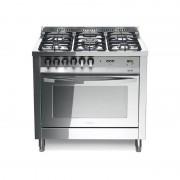 Lofra Plg96mft/c Total Inox 90x60 Cucina Total Inox Con Piano In Acciaio Lucidato A Specchio - 5 Fuochi A Gas Di Cui 1 Tripla