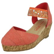 Sandale fetite cu platforma denim corai