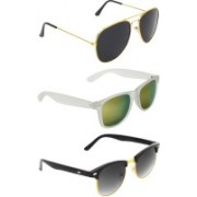 Abner Aviator, Wayfarer, Clubmaster Sunglasses(Black, Multicolor, Black)