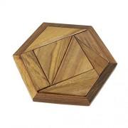 Shalinindia Handmade Wooden Game Pentameno Tangram 7 Parts Hexagonal Travel Games for Children Kids Gifts (5.5-inch)