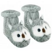 Merkloos Pantoffel sokken grijze uil