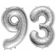 De-Ultimate Solid Silver Color 2 Digit Number (93) 3d Foil Balloon for Birthday Celebration Anniversary Parties