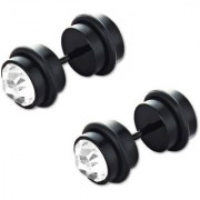 GoldNera Black Solitaire Heavy Steel Stud Earring Reversible Imported Design For Youngsters Boys/Men (PAIR STUDS)