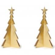 Merkloos 4x stuks gouden mini kerstboompjes voor op tafel/vensterbank 34 cm - Kerststerren
