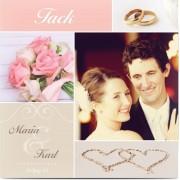 Optimalprint Tackkort för bröllop, glansigt papper, standard-kuvert, 1 st, fotokort (1 foto), ring, rosa, kvadratiskt, enkelt, Optimalprint