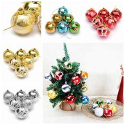 Plastic Christmas Baubles Handmade & Painted Ball Tree Balls Decorations 6/24PCS