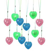 Dazzling Toys Assorted Colors Blinking Love Hearts Necklace On Colored Strings 24 Per Pack
