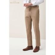 Next Signature Cotton Blend Suit: Trousers - Tailored Fit - Nude - Mens