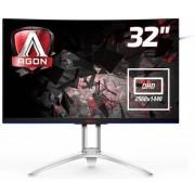 """Monitor Gaming MVA LED AOC 31.5"""" AG322QCX, QHD (2560 x 1440), VGA, HDMI, DisplayPort, Ecran Curbat, Boxe, 144 Hz, 4 ms (Negru/Argintiu)"""