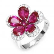Inel Borealy Rubin Flowers 4 carate Silver 925 Marimea 7
