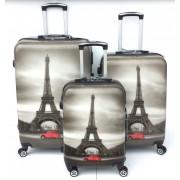 Max A29at kufr skořepinový cestovní ABS set 3ks Eiffelova věž