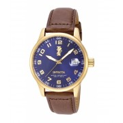 Invicta Watches Invicta Men's 15255 I-Force 18k Gold Ion-Plated Stainless Steel and Brown Leather Watch BlueBrown