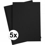 Merkloos 5x A4 hobby karton zwart 180 grams