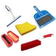 Stylewell Combo Of Mini Dustpan Broom Set Microfiber Towel Cloth Glass Wiper Magic Roller Carpet Dust Cleaning Brush