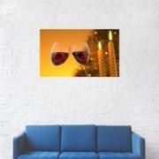 Tablou Canvas Pahare vin Romantic 20 x 35 cm