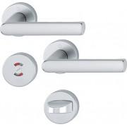 Dörrtrycke Hoppe Hamburg med toalettbehör - Aluminium F9 (Rostfri nyans)