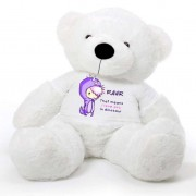 White 5 feet Big Teddy Bear wearing a Purple RAWR I Love You T-shirt