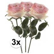Bellatio flowers & plants 3x Licht roze rozen Simone kunstbloemen 45 cm