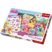 Puzzle Princess 100pcs - Printese si prietenii lor - Puzzle i tatuaje