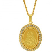 MissMister Gold Plated CZ American Diamond Shirdi SAI Baba Image Embossed Oval Pendant Locket Chain Necklace Temple Jewellery for Men Women Boys Girls