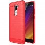 Para Xiaomi Mi 5S Plus Textura Cepillada Fibra TPU Resistente Armadura Protectora Caso (rojo)