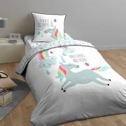 Home Collection Parure housse de couette & 1 taie Unicorn multicolore - 140x200 cm