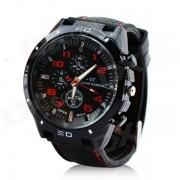 Hombres resistentes al agua banda de silicona analoga cuarzo reloj de pulsera - negro + rojo (1 x 377)