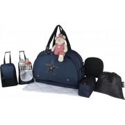Baby aan boord - luiertas - teameinde maanlicht - baby reistas - heather marine zwart lederen details grote tas past