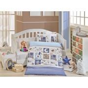 Set lenjerie de pat pentru copii, Hobby, bumbac poplin, 100 x 150 cm, 113HBY0056, Albastru