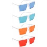 NuVew Retro Square, Wayfarer Sunglasses(Blue, Green, Orange, Red)