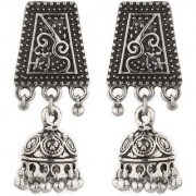 Silver Jhumki Antqiue Finish Silver Plated Light Weight 3.5 CM Long Daily Wear Party Wear Afgani Look Small Simple Everg