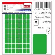 Etichete autoadezive color, 12 x 17 mm, 560 buc/set, Tanex - verde fluorescent