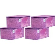 Kuber Industries Flower Design Metalic Flower Design 8 Piece Non Woven Saree Cover, Large(Pink & Purple) - CTKTC34551 CTKTC034551(Pink & Purple)