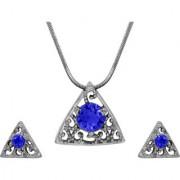 Mahi with Crystal Elements Dark Blue Triangle Beauty Rhodium Plated Pendant Set for Women NL1104143RDBlu