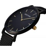 GeekThink Zegarek premium GeekThink na czarnej bransolecie - złote znaczniki