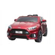 Mașinuță electrică pentru copii Ford Focus RS, vopsită roșu, Licență Originală, cu Baterii, Uși care se deschid, Scaune din Piele, 2x Motoare, Baterie de 12 V, Telecomandă 2.4 Ghz, roți ușoare EVA, pornire Lină