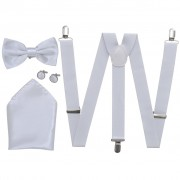 vidaXL Men's Black Tie/Tuxedo Accessories Braces & Bow Tie Set White