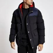 Bellfield Mens Bellfield Black blocked padded puffer coat (L)