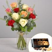 Interflora Bouquet Rouge pastel et ses amandes au chocolat