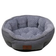 Hapet Color Gray Soft Linen Pet Bed with Cusion Mat Dog Cat Warm Kennel