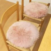 長毛ムートン 円形 シートクッション2P【QVC】40代・50代レディースファッション