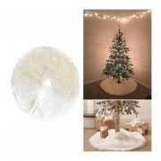 árbol De Navidad Ornamento Decoracion Felpa Falda Blanca Redonda, Diámetro: 90cm