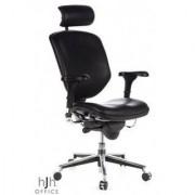 Hjh Silla ergonómica ENJOY ajustable 100%, piel color negro