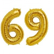Stylewell Solid Golden Color 2 Digit Number (69) 3d Foil Balloon for Birthday Celebration Anniversary Parties