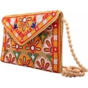 Craft Trade Handmade Designer Embroidered Rajasthani Handbag For Women's | Multicolor Beige Sling Bag